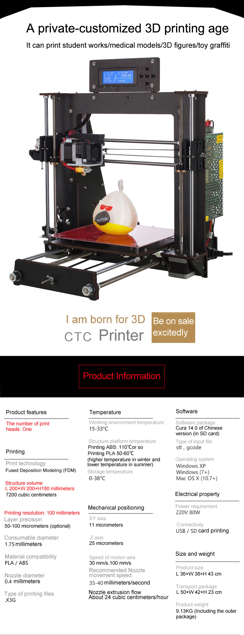 3D Printer with Power Failure Resume Printing and LCD Screen for High Precision Printing 8