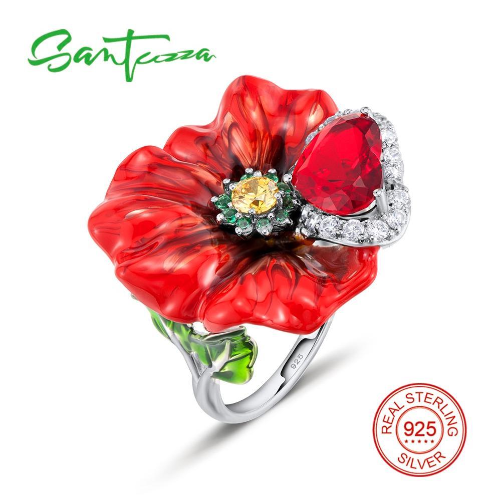 Silver Rings for Women Red Rose Flower Enamel Ring White Cubic Zirconia Heart Pure 925 Sterling