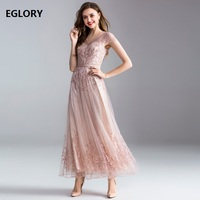Top Quality New Luxury Women Party Wedding 2018 Ladies Sexy V Neck Beading Lace Embroidery Red Light Pink Lace Maxi Dress Longo