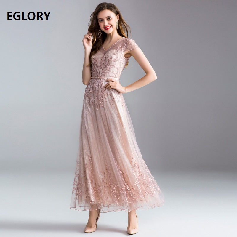 Top Quality New <font><b>Luxury</b></font> Women Party Wedding <font><b>2018</b></font> Ladies <font><b>Sexy</b></font> V-Neck Beading Lace Embroidery Red Light Pink Lace Maxi <font><b>Dress</b></font> Longo image