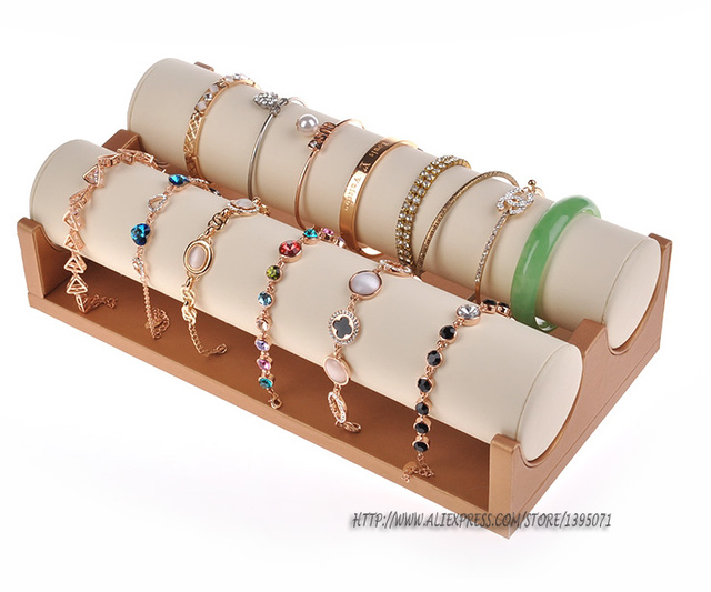 High Quality Bracelet Holder Bangle Display Stand Gold Leatherette Jewelry Rack Watch Showcase With 2