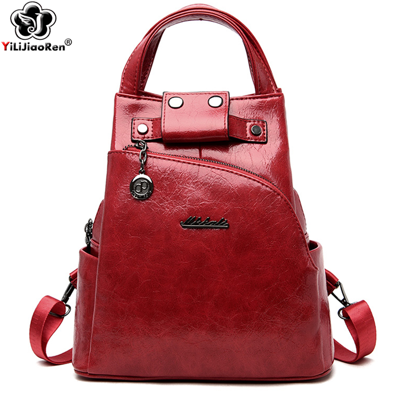 Fashion Women Backpack Shoulder Bag High Quality Pu Leather Women Backpack Large Capacity Anti Theft Backpacks Travel Bags 2019