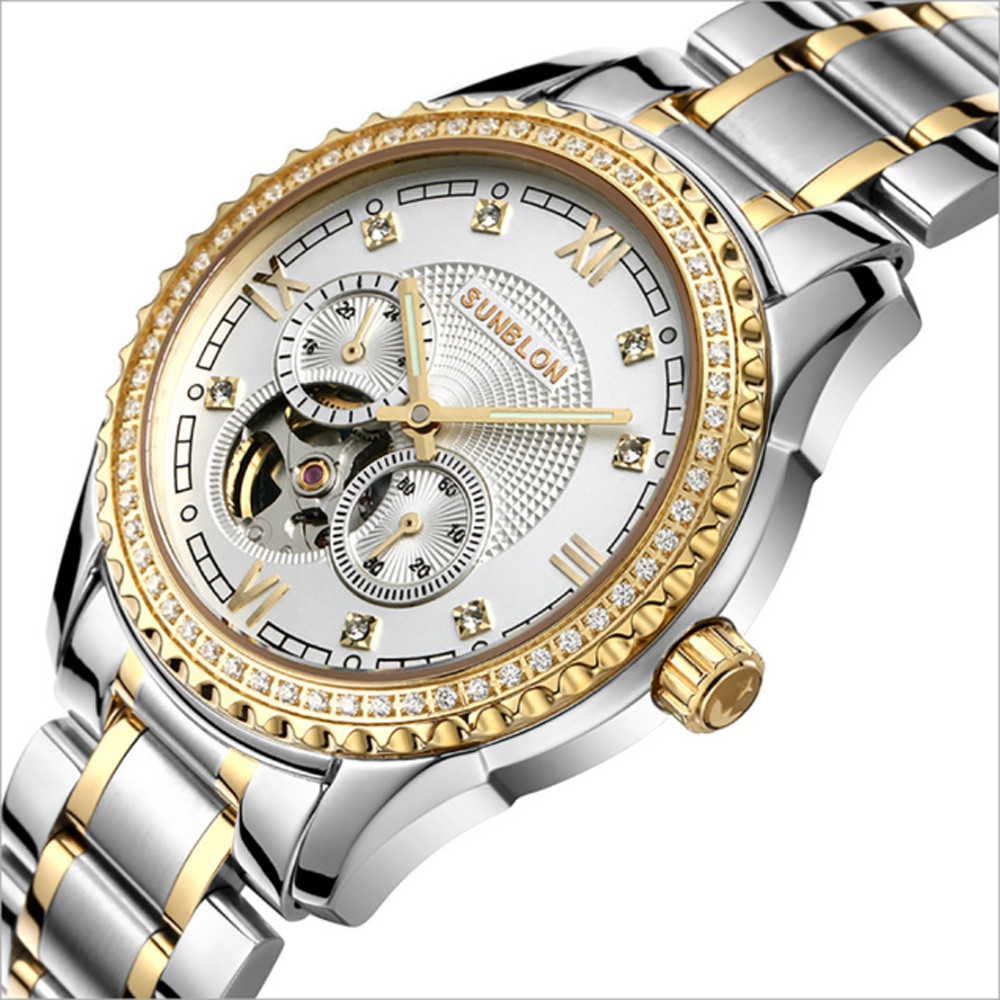 2017 Stainless Steel Mechanical Skeleton Watch Golden Movement Sapphire Crystal Water Resistant Depth: 50m Y7821 new style sunblon s505b stainless steel mechanical skeleton watch golden movement 915