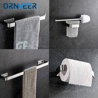 304 Stainless Steel Nickel Brushed Wall Mount Bath Hardware Sets Towel Bar Toilet Brush Holders Paper Holder Free Shipping