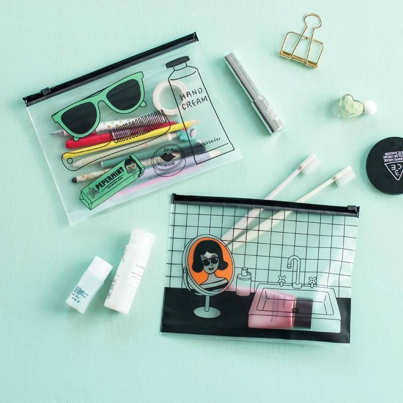 1 Pcs Cartoon Transparent PVC School Pencil Case For Girls Kids Stationery Gift Pencil Bag School Pencil Case Large Capacity