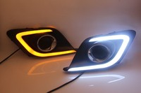 eOsuns LED daytime running light DRL for mazda 3 axela 2014 16 with yellow turn signal, guiding bar design, top quality