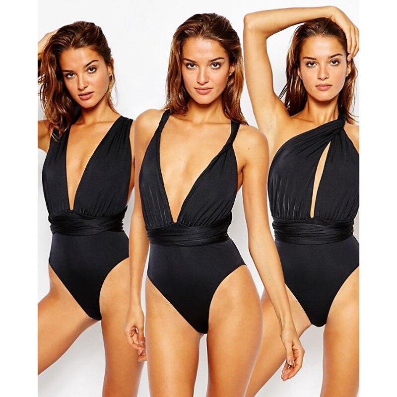 Women Red Bodysuit Infinity Jumpsuit Multiway Swimsuit Summer Bohemian Bandage Beach Swimwear Thong Swimsuit One Piece Swimsuit