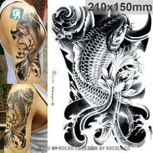 Waterproof Temporary Tattoos For Men Women Black Sketch Carp Design Large Tattoo Sticker LC2814