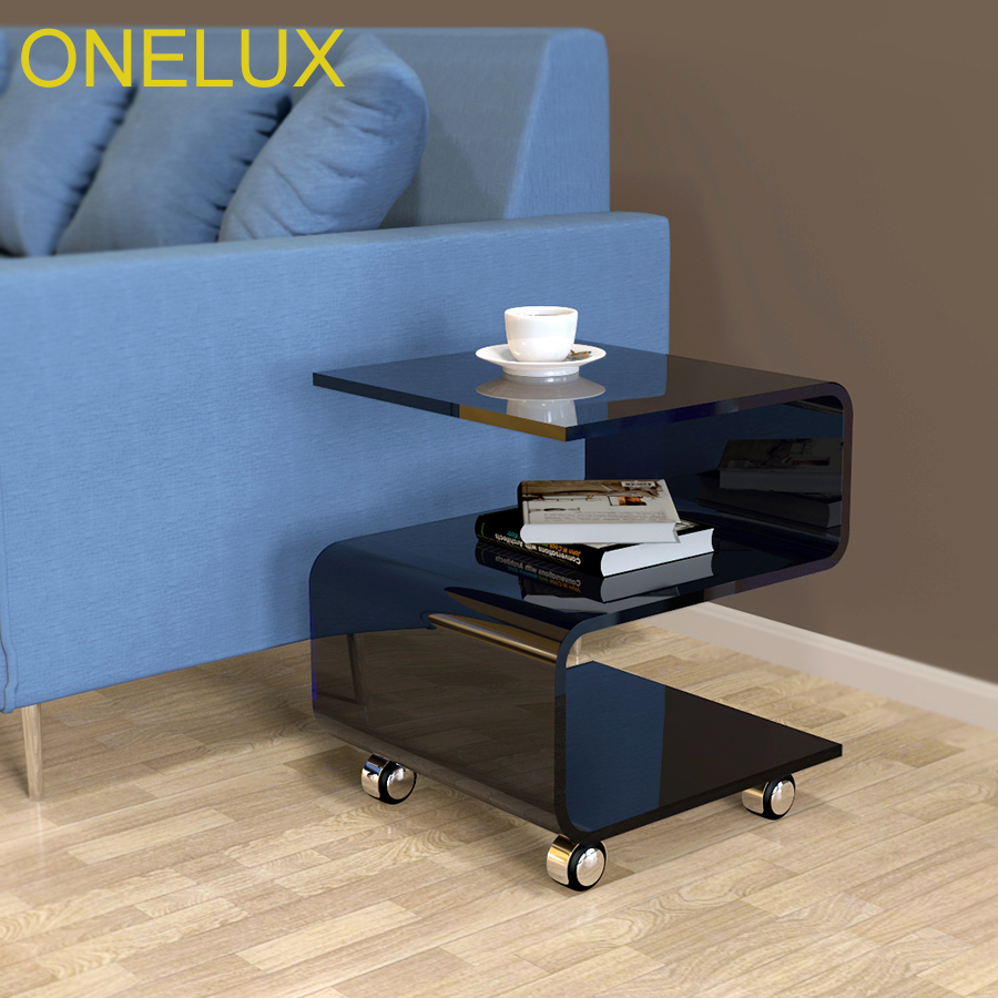 S-shaped Acrylic Side Coffee Table On Wheels,rolling