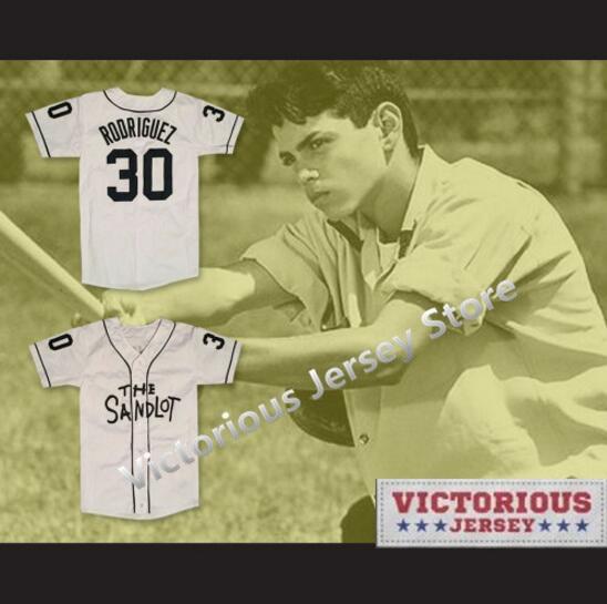 Minanser Benny  The Jet  Rodriguez  30 Baseball Jersey The Sandlot Gray Men 4e7db432a