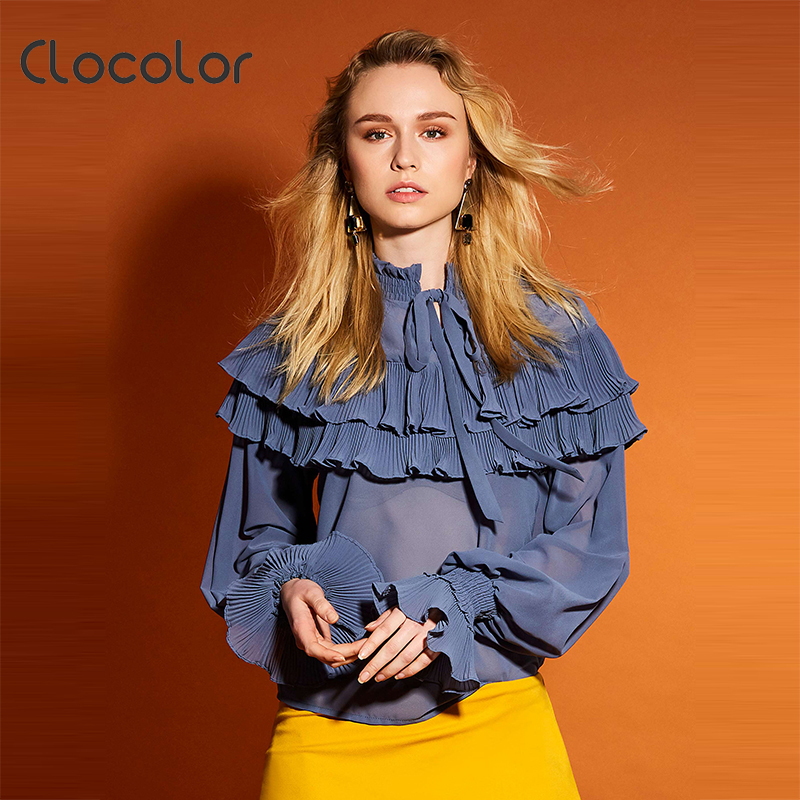 Clocolor Clocolor Women Blouse Slim Long Sleeve Ruffled Collar Falbala 2017 New Sweet Girl  Patchwork Summer Orange Blouse Women Blouse
