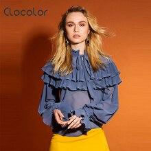 Clocolor Для женщин Блузка Тонкий с длинным рукавом трепал воротник Falbala Новинка 2017 года милая девушка летнее лоскутное оранжевый блузка Для женщин блузка