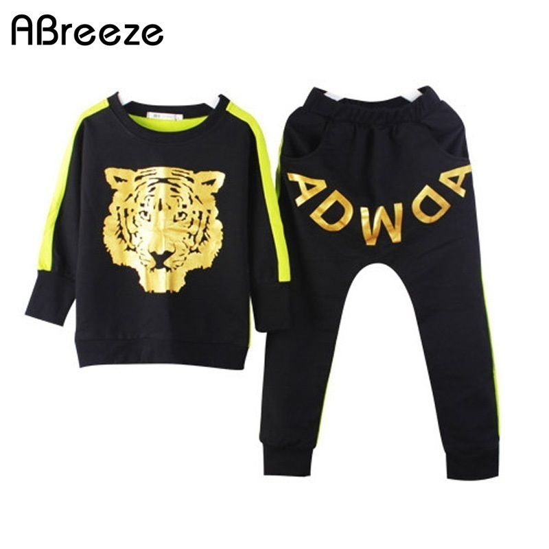 2017 New spring autumn children clothing sets fashion tiger style sleeved shirt tops letter harem pants 2 pc sets
