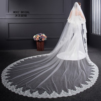 Wedding Veil 2017 New Real Images 3 5 Meter Length Two Layers 3 M Width Elegant