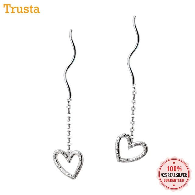 23a4ebaca Trusta 2018 Fashion Hot 100% 925 Sterling Silver Stud Earrings Hollow Heart  Linked 3.6cm Drop Stick Girls Friends Gift DS455