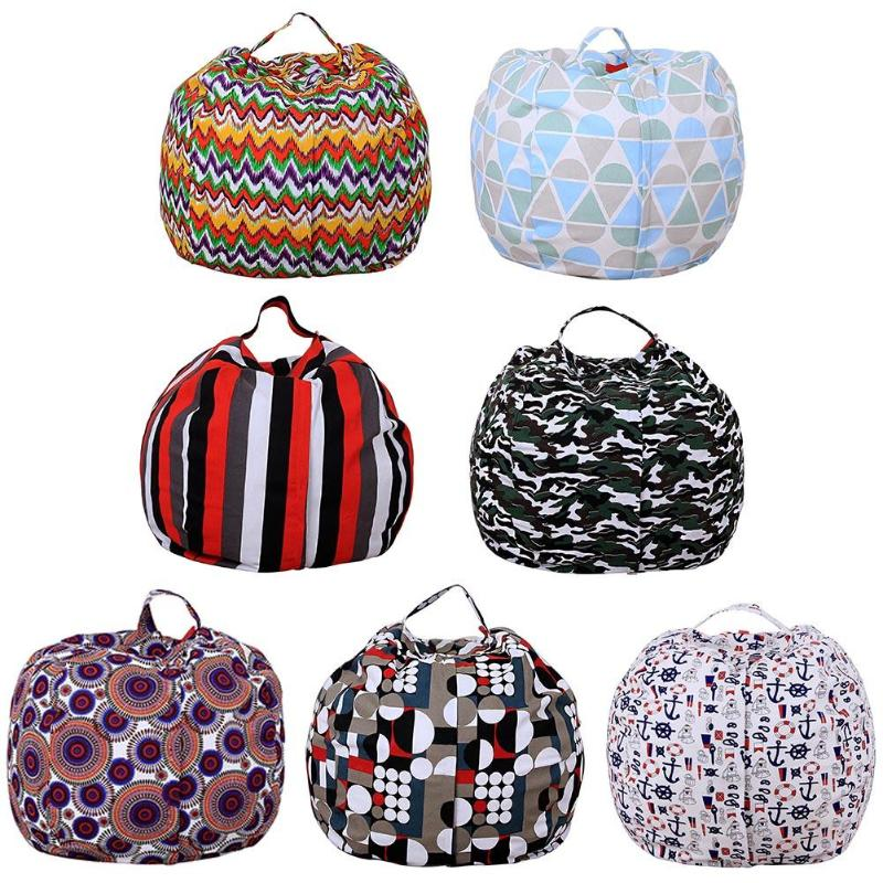 13 choices Storage Bean Bag Folding Canvas Plush Toy Chair Portable Clothes Organizer Portable Kids Clothes Toy Storage Bags