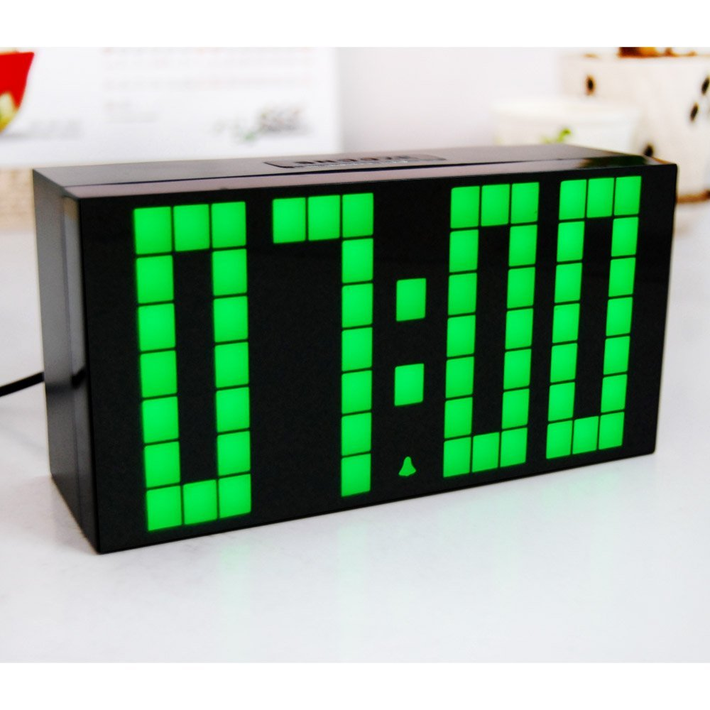 Big Digit Led Alarm Clock Black Durable Wall Clock with Calendar and