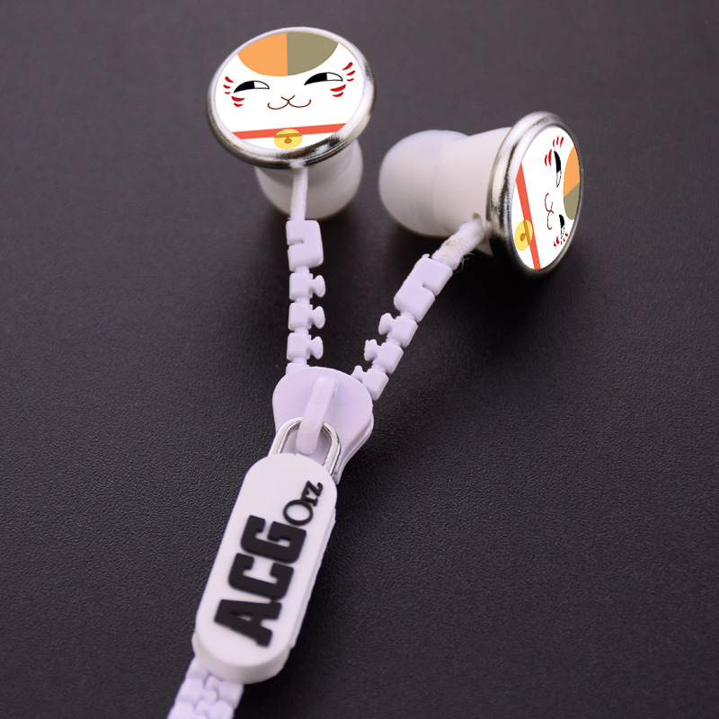 Natsume's Book of Friends Cat Madara Nyanko-sensei Zipper Cable Earphone Wired Stereo In-ear Earbuds Earphones Headset for Phone
