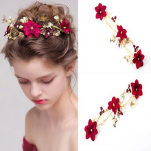 Baroque Red Flower Crystal Pearl Headbands Bridal Crown Tiaras Gold Tiaras for Women Bride Hair Band Wedding Hair Accessories(China)