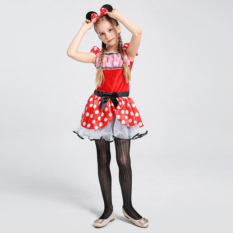 Girls Kid Cute Minnie Mouse Fancy Dress Costume