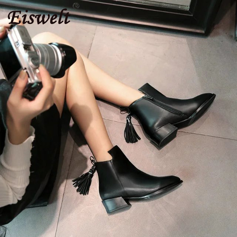 EISWELT Women's Ankle Boots 2017 Female Fashion Fringe Leather Boots Women Round Toe Black Shoes Heels Autumn Women Shoes#ZQS256 eiswelt women boots 2017 fashion buckle ankle boots slip on shoes female autumn cotton boots heels shoes flock zqs247