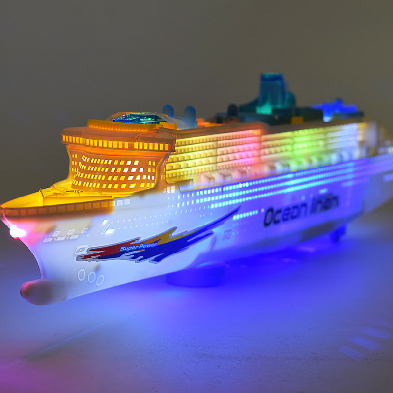 [ Funny ] Electronic Large luxury cruise ship Toy Universal rotation music light Boat model Baby toy colorful flash ocean line