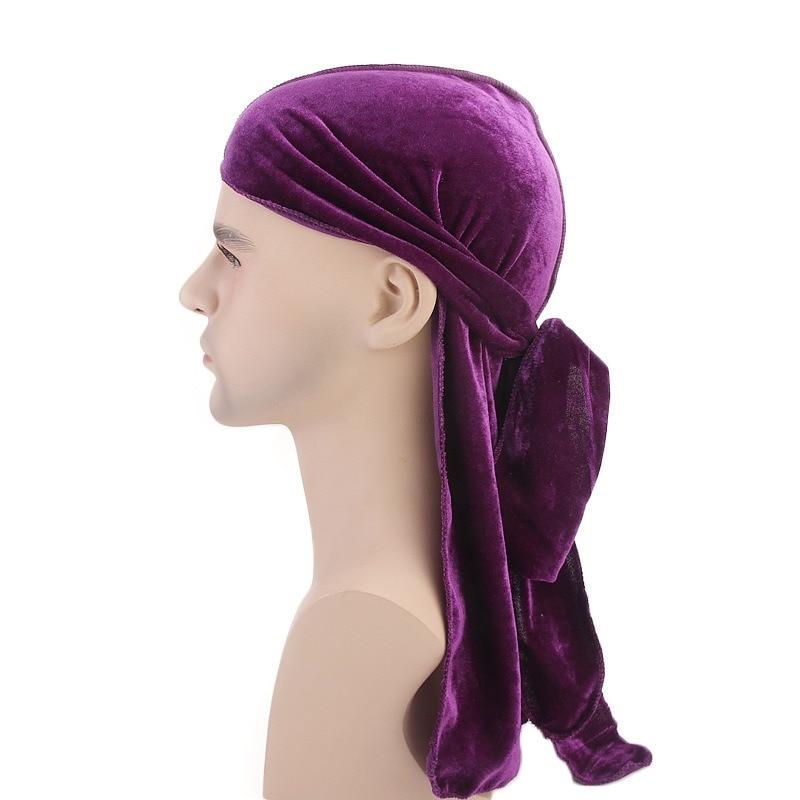 Men's Accessories Beautiful New Luxury Muslim Mens Velvet Durags Bandana Turban Hat Wigs Doo Durag Biker Headwear Headband Pirate Hat Hair Accessories Sophisticated Technologies