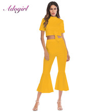 цена на Plus Size S-4XL Women Two Piece Set Casual Bandage O-Neck Crop Top Clothes+Loose Wide Leg Pants Female 2 Piece Outfits Tracksuit