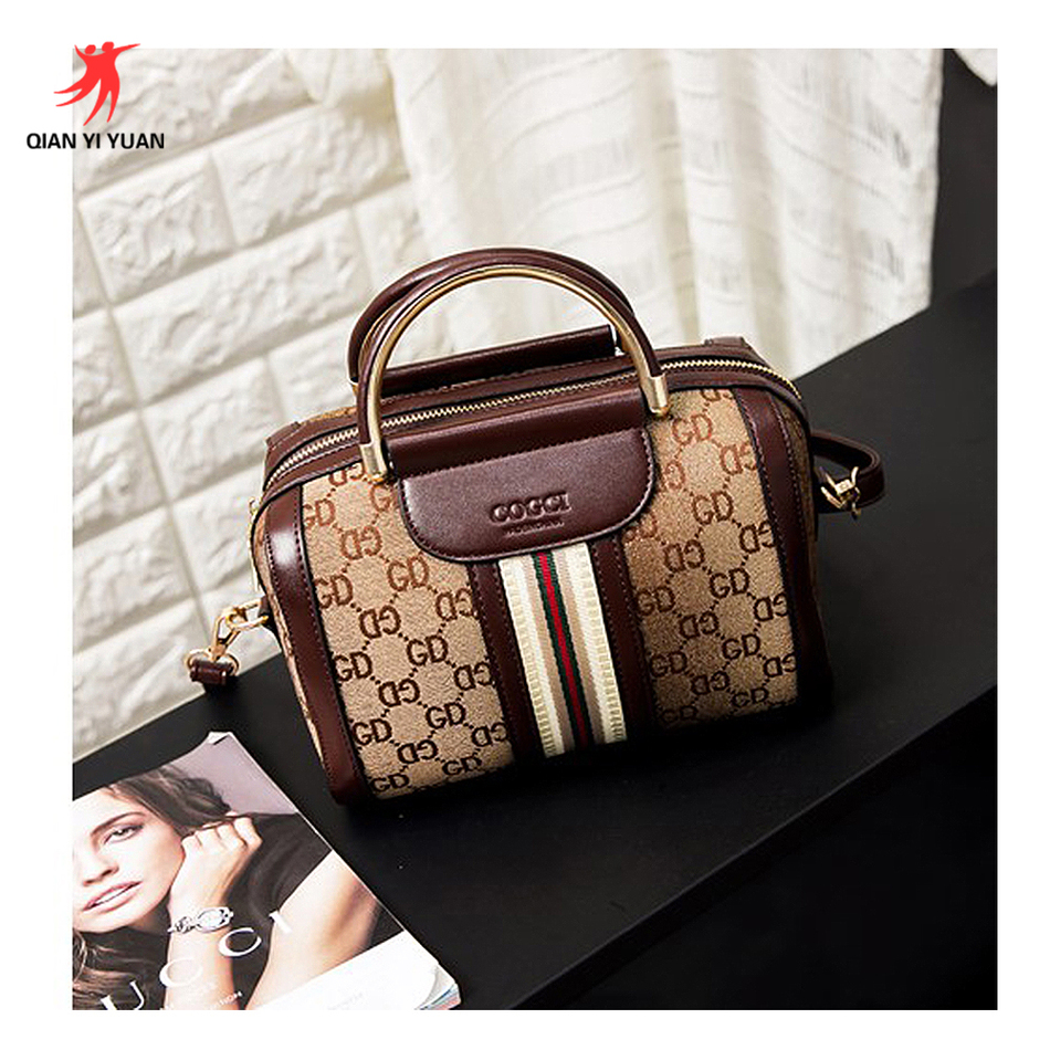 2017 Women Bag Boston New Handbag Europe And America Tide Shoulder Messenger Portable Picture Printing Bolsa Feminina QYY-0035