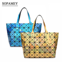 2017 Women Handbags BaoBao Bag Laser Geometry Sequins Mirror Plain Tote Bao Bao Holographic Women Shoulder