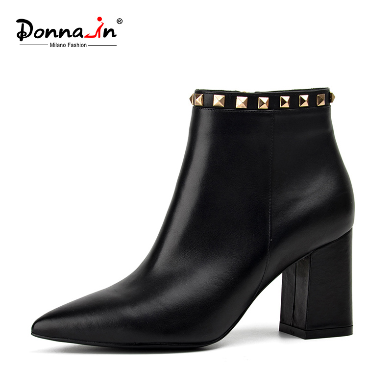 Donna-in 2018 spring new collections pointed toe thick heel woman boots fashion rivet ankle boots genuine leather ladies shoes donna in genuine leather women boots shoes classic round toe thick heel ankle boots black calf leather ladies boots