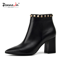 Donna-in 2017 spring new collections pointed toe thick heel woman boots fashion rivet ankle boots genuine leather ladies shoes