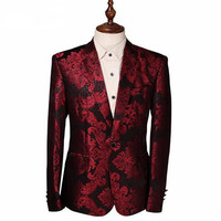2018 Costume Male Jacket Wine Red Flower Print Groomsmen Wedding Blazers Evening Party Dress Suit Blazer Masculino