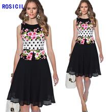 Women Dresses New Summer Floral Chiffon Patchwork Casual Sleeveless Belted Peplum Cocktail Party Flare Skater Dress