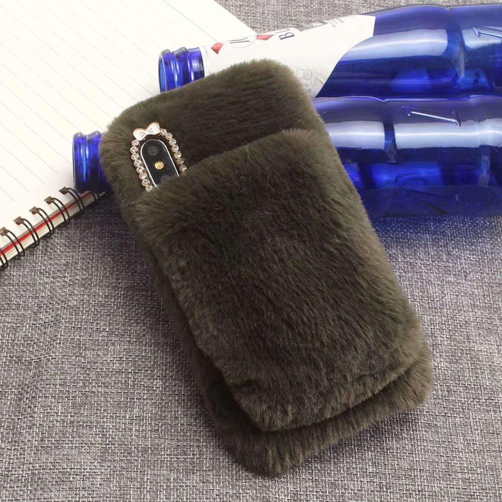 KIP61432E_2_For iPhone 7 8 Hairy Warm Winter Bling Rhinestone Plush Phone Cover for iPhone XS XR 5S SE 6S 7P 8 Plus Hand Warmer Soft Case