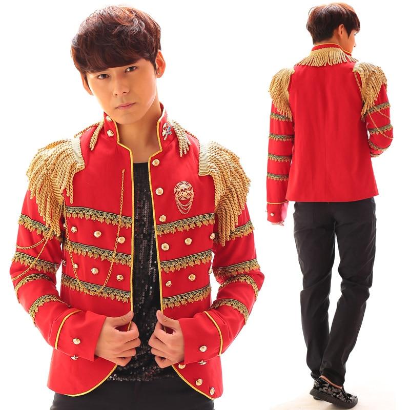 Sarkans un melns vīriešu Epaulette modes plāns gadījuma uzvalks - Vīriešu apģērbi
