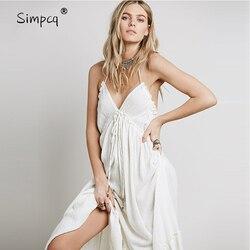 Aucun Vestido Longo robe épaule longueur cheville offre spéciale limitée Vestidos De Fiesta été dos nu charme femmes col en v