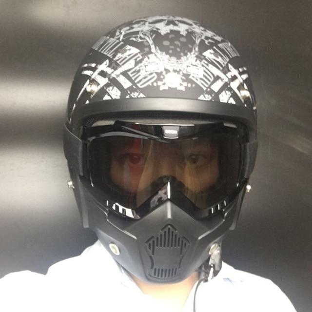 ed62736d46fd8 O Modular Destacável do vintage Máscara de Óculos de proteção do capacete  com a Boca do