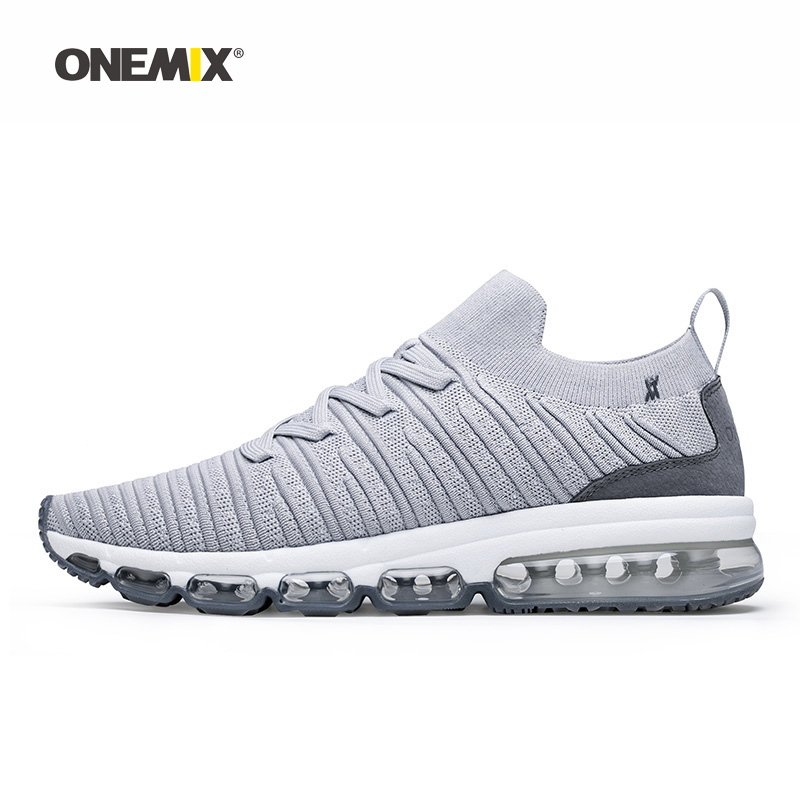 Onemix Men Running Shoes for Women Grey Max Cushion Socks Loafers Mesh Designer Jogging Sneakers Outdoor Sport Walking Trainers