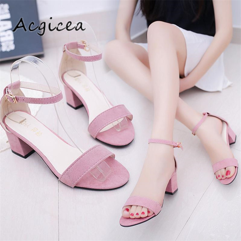 2018 Summer new Female high heels Korean version high-heeled shoes thick with fish mouth female sandalss Sandalias Mujer s012-1 in the summer of 2016 the new wedge heels with fish in square mouth denim fashion sexy female cool shoes nightclubs