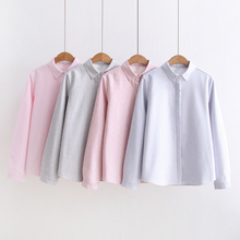 Dioufond Striped Oxford Tops Female Thickening Warm Long Sleeve Women Blouses Casual Long Sleeve Clothing Autunm Winter 2017