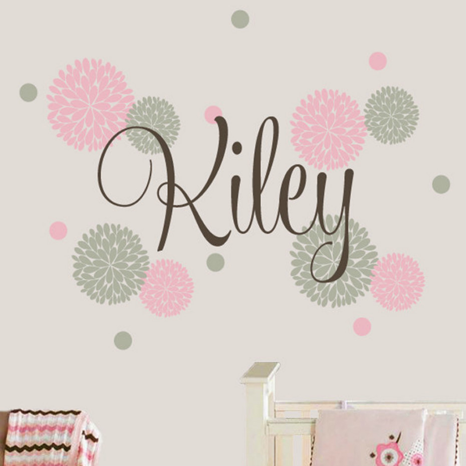 Polka dot wall decals flower custom made baby name wall sticker baby girls room wall stickers for kids room home decoration