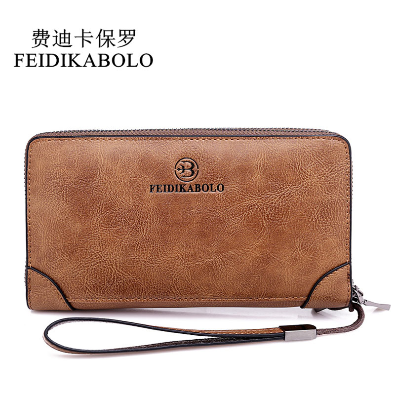 FEIDIKABOLO Designer Wallet Men Double Zipper Coin Purse For Men Leather Male Wallet Business Clutch Bags Carteira Masculina New