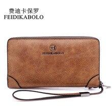 FEIDIKABOLO дизайнерский кошелек мужской двойной молнии портмоне для мужчин кожаный мужской кошелек деловой клатч Carteira Masculina Новый