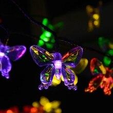 Lámparas solares 4.8 M 20 LEDs de colores Mariposa guirnalda luces de hadas Impermeable Al Aire Libre Jardín solar led luz de la decoración de Navidad
