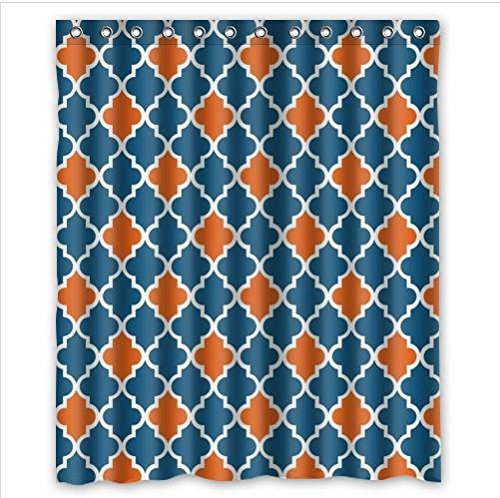 Best Seller Moroccan Orange And Navy Cornflower Blue Tile Quatrefoil Custom Shower Curtain 60 X 72 In Curtains From Home Garden On
