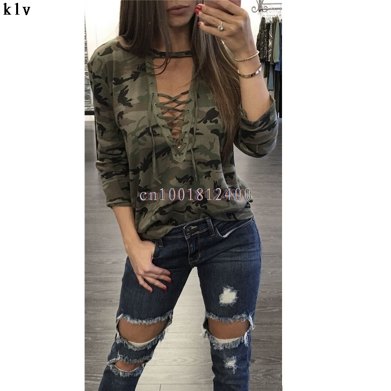 2017 Women Sexy T-Shirt Camouflage O-Neck Lace Up Halter Top Shirt Ladies Loose Bandege Camo Tee Tracksuit Female