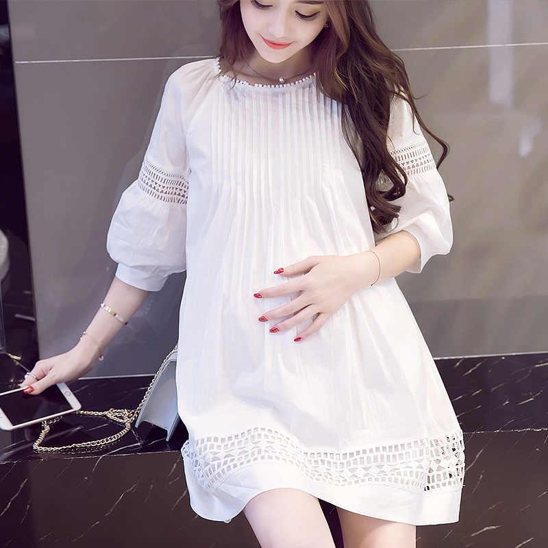 Korea Maternity Dress Wear Maternity Short Sleeve Chiffon White Clothing Maternity Clothing Bow Dress Pregnancy Clothes M 2xl Pregnancy Clothes Dress Pregnancymaternity Dresses Aliexpress