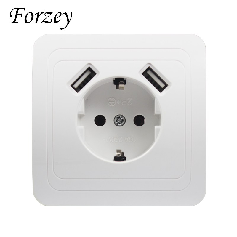 USB Wall Socket charger Free shipping Double USB Port 5V 2A Usb enchufes para pared prise high quality usb murale steckdose F02