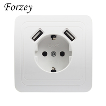 USB Wall Socket charger Free shipping Double Port 5V 2A Usb enchufes para pared prise high quality usb murale steckdose F02